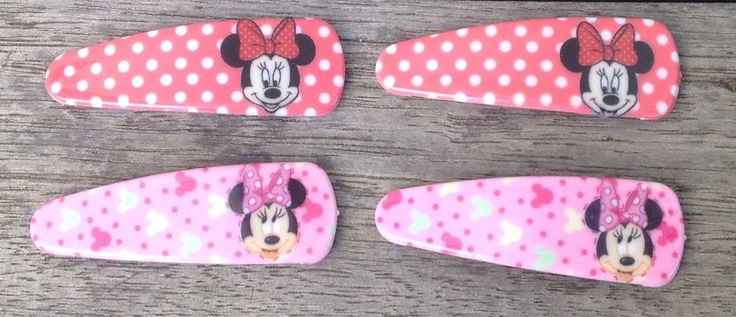 Girls 2 Pairs Wafer Minnie Mouse Disney Hair Clips Hair Pins, Party Loot Bags  | eBay