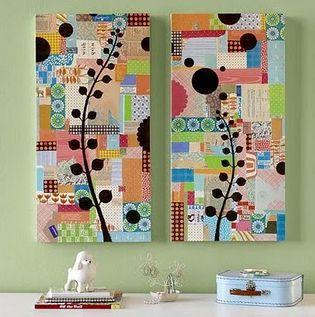 Veja que graça esses painéis com aplicação de adesivo de parede por cima do patchwork. Antes de fazer, experimente as combinações entre os padrões. Tenha apenas a preocupação de usar, pelo menos, uma cor comum em todas as estampas ou distribuir igualmente uma cor ou um padrão para que a composição fique equilibrada.