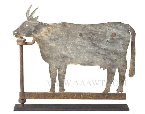 Vintage Weather Vane: Antique Weathervane, Cow, Sheet Iron, 19th Century, Facing