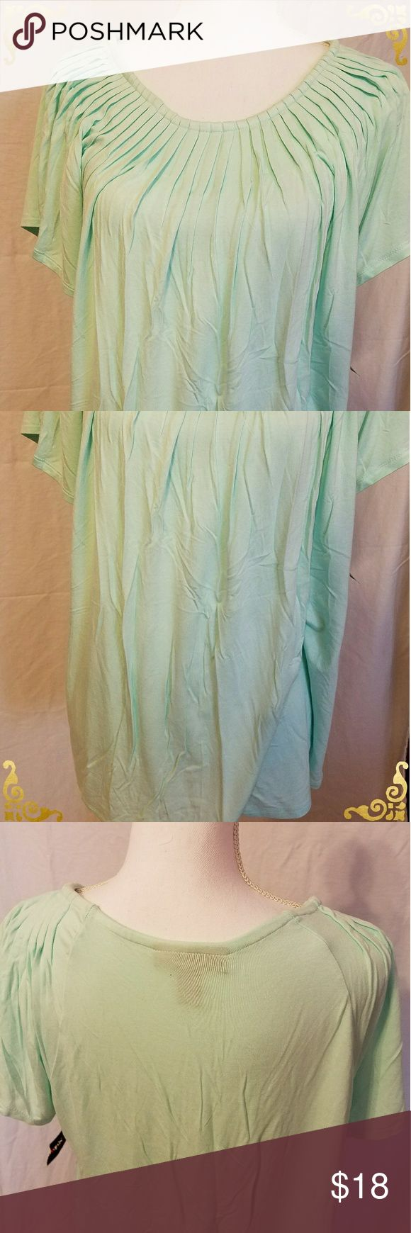 NWT Style & Co. Mint green short sleeve top. XL Beautiful light mint green color blouse. Short sleeve. Ribbed around the collar in the front. Ladies size extra large. 95% rayon, 5% spandex.  Same / Next Day Shipping 📦 Smoke-free home 🏠  Bundle items, great savings 💲 Free sample / gift with every purchase 🎁 And thanks for stopping by  to browse and hopefully shop my closet 💄💍👢👗👙🛍 Style & Co Tops Blouses