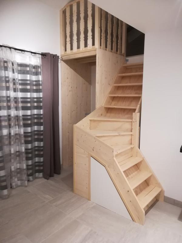 Escalier 1 4 Tournant Droit Bois Normandie L 80 Cm 13 Marches