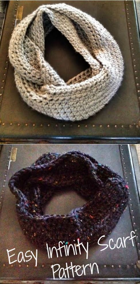 """Easy Infinity Scarf Pattern- crochet - pinner said """"...took two hours to make the first and just over an hour to make the second scarf. """""""