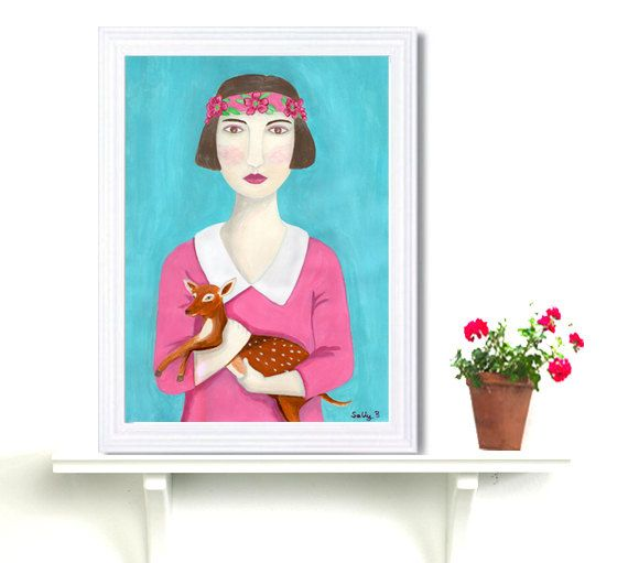 Fantasy Portrait Flapper Girl Holding Deer Art by FoldedRoses