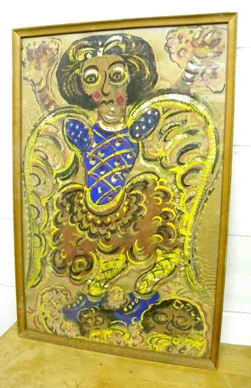 CHUCHO REYES Folk Art Painting Outsider Art of Angel Circa 1960's. (Jesús Reyes Ferreira, born José de Jesús Benjamín Buenaventura de los Reyes y Ferreira and also known as Chucho Reyes, was a self-taught artist and antiques/art collector and vendor.)