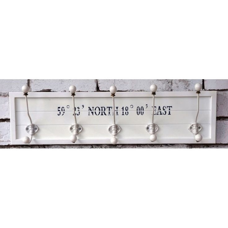 Coat Hooks Rack Nautical - Large Shabby Chic White