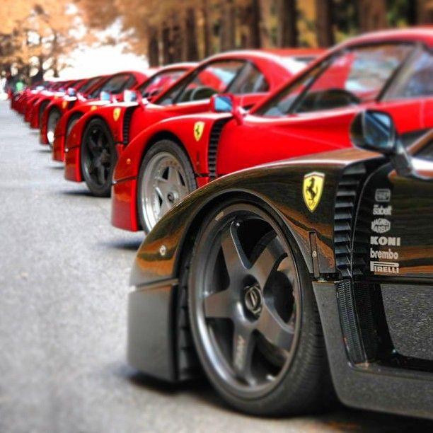 Huge line of Ferrari's!