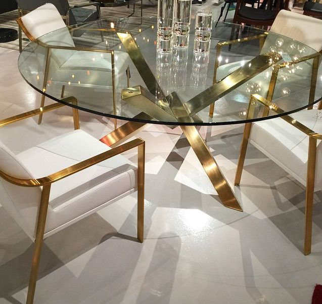 Gold Brushed Round Dining Table