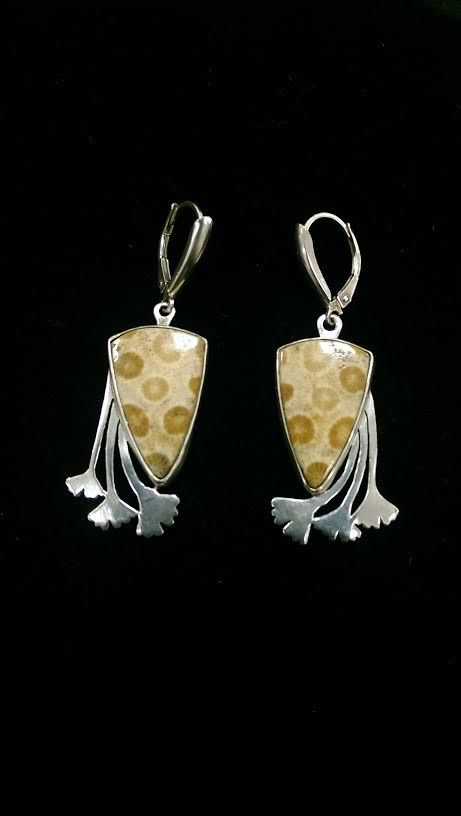 Fossilized Coral Set in Sterling Silver