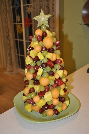 Christmas fruit tree finger food