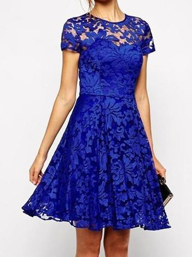 Alluring Chic Lace Hollowed O-Neck Short Sleeve Pleated Party Dress on fashionsure.com