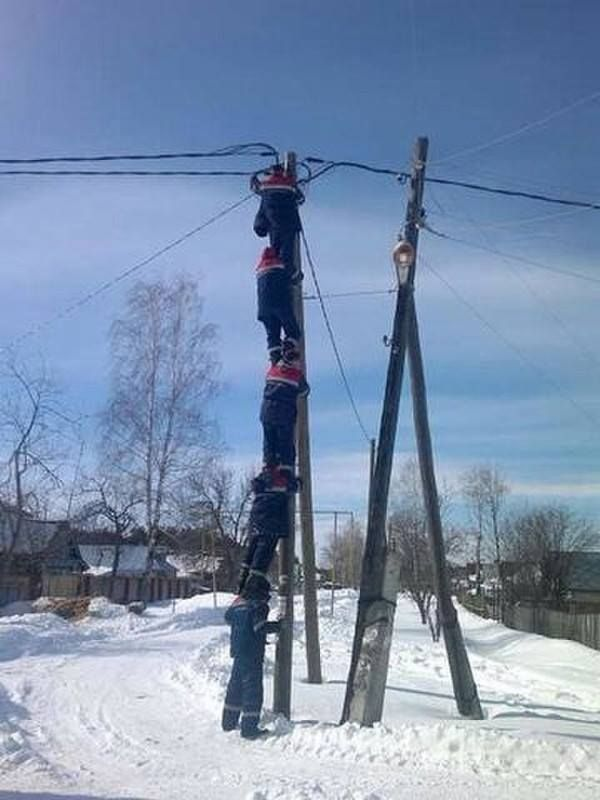 """Russia. Electricians."" by Hectus in OSHA"