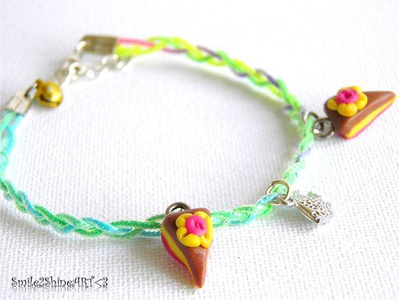 Polymer clay cake charm bracelet Miniature cake by Smile2ShineArt