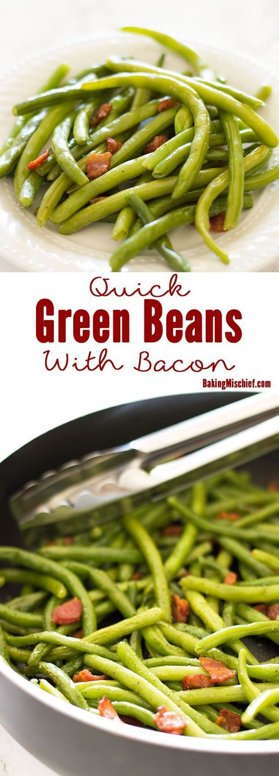 Fresh green beans with chopped bacon, tossed in bacon drippings make an easy, tasty, and surprisingly low-calorie side dish. Recipe includes nutritional information. From http://BakingMischief.com