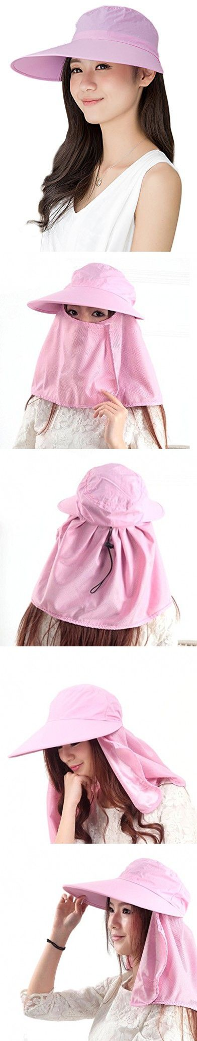 Women Summer Cotton Large Wide Brim Anti-uv Face Cover Sun Visor Hat Cap