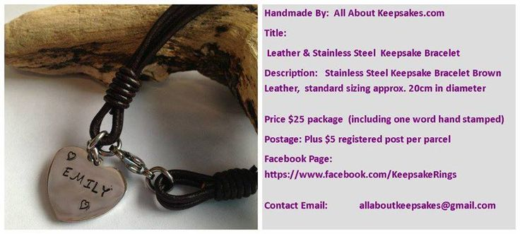 Handmade by All About Keepsakes  Leather and Stainless Steel bracelet