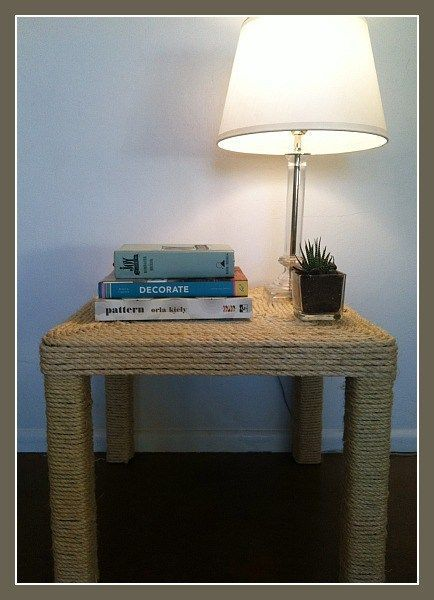 Transform a boring Ikea Lack table with sisal rope and totally change the look!
