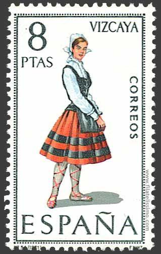 Trajes regionales españoles en sellos VIZCAYA
