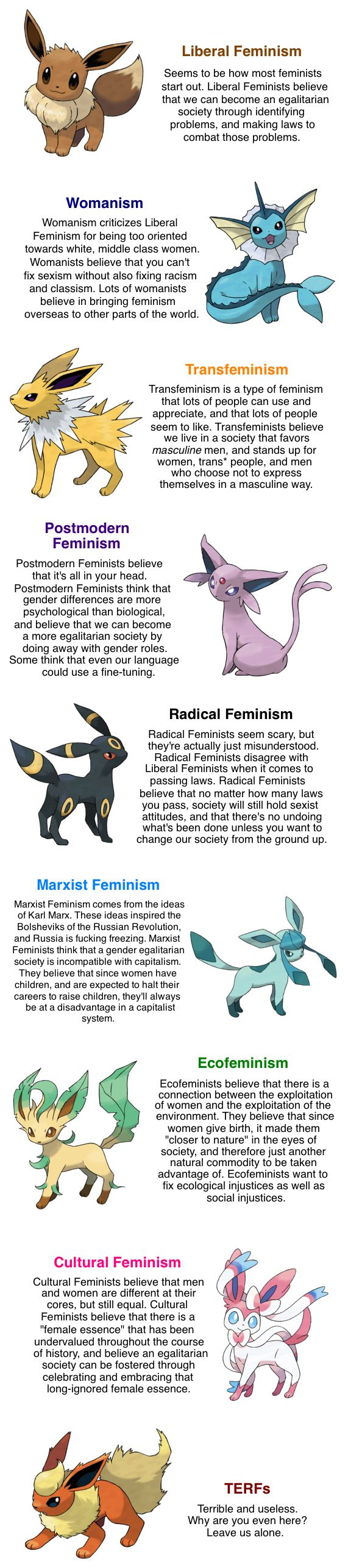 Learning Feminism Through Pokemon haha. I relate most to liberal,trans, womanism and eco feminism - equality for all! This is great because there are degrees to everything and it shows that it is not all or nothing. I also feel that everyone can relate somewhere in these descriptions. Mandy