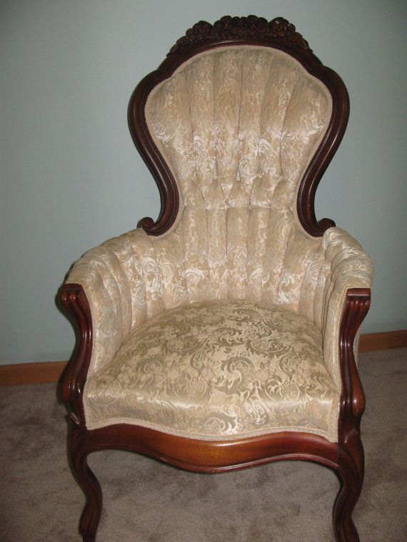 Victorian Mahogany Carved Wood Arm Chair Cream By