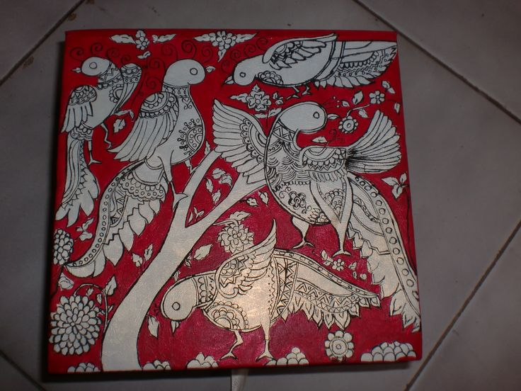 Madhubani art on a cardboard box