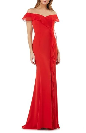 fa28d8e2980 Carmen Marc Valvo Infusion Off the Shoulder Cascading Ruffle Gown ...