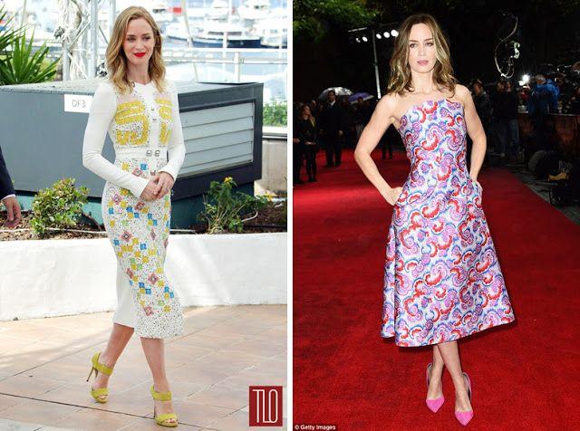 Эмили Блант в одежде с высоким цветовым контрастом и низким контрастом по светлоте