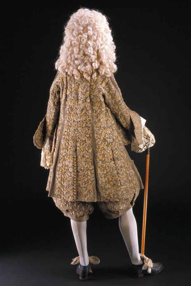 The wedding suit made for King James II (back). James II's marriage suit, England, 1673. Wool embroidered with silver & silver-gilt thread, lined with red silk. Museum no. T.711-1995 The Victoria and Albert Museum.