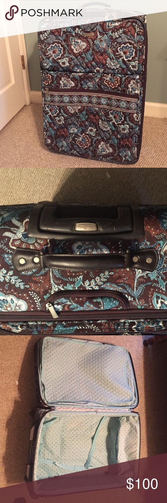 """Vera Bradley Luggage Vera Bradley Luggage/ Extra Large Suitcase. Color: Java Blue/ 20""""Lx 12""""W x26.5""""H. Great Preloved condition. Some scuffs and scratches near the wheels and handle. Nothing excessive, just normal wear. Holds a ton of stuff! Serious buyers only please. No trades. Vera Bradley Bags Travel Bags"""