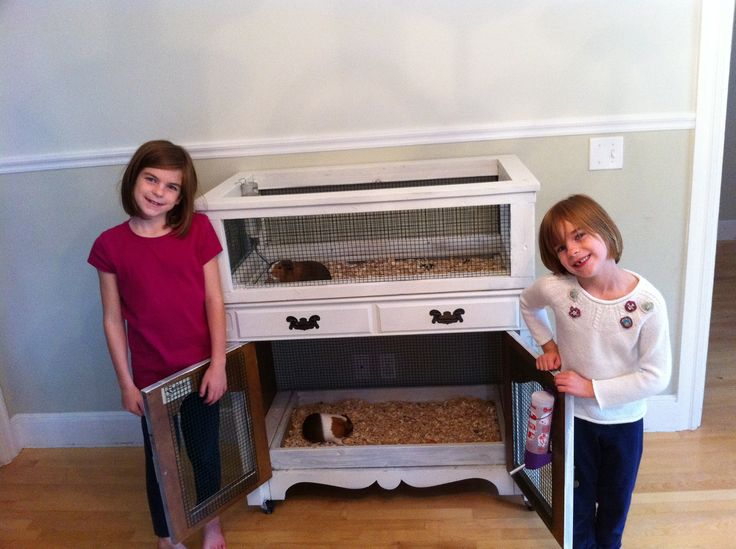 Old hutch from used furniture store becomes a guinea pig duplex for pigs Trixie and Bubbles.  Removed front and rear panels, built custom trays lined with old floor tiles, and built a cage to fit the top for second unit.  --Makes me wish I still had Muffin and Brownie!