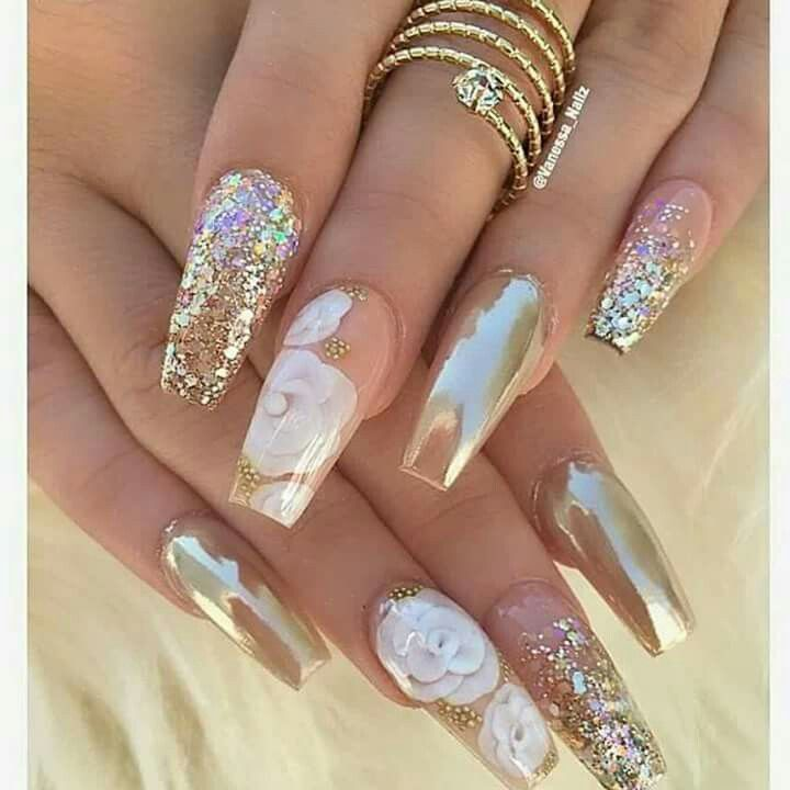 Beautiful nail art with gold & white accents & flowers - Best 25+ Long Nail Designs Ideas On Pinterest Long Nails