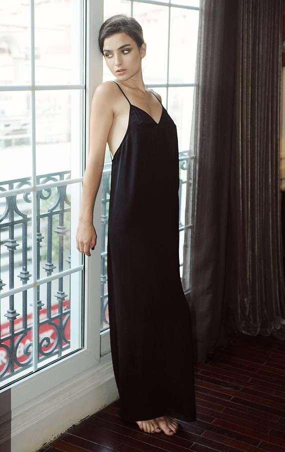 1751a184b1f 100 % Pure silk sexy low back  backless maxi slip dress for bridal ...