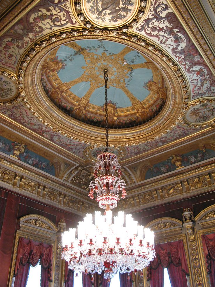 Massive chandelier inside Dolmabahe Palace IstanbulTurkey