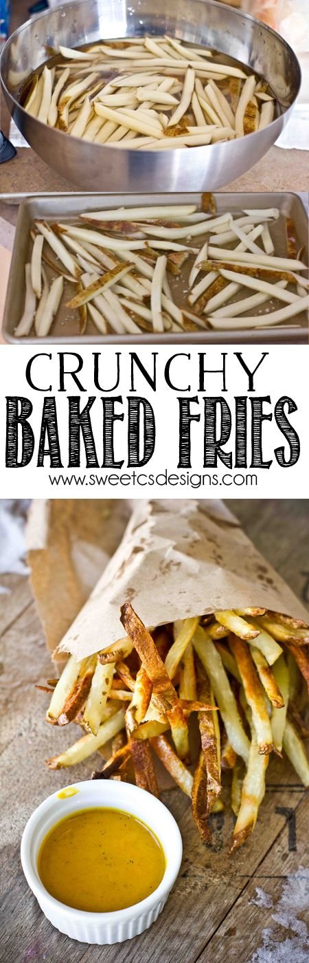Crunchy Baked Fries- just a little olive oil and salt to get perfect baked french fries!