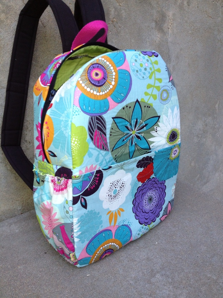 Backpack sewn with PDF download pattern   www.jackieclarkdesigns.com