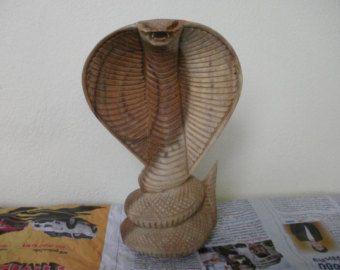 Natural Wood Carving kapucňou Snake Cobra Hand Made ručne vyrezávané figúrka Socha