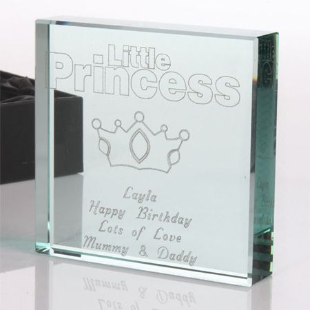 Personalise this lovely glass keepsake for your little princess.