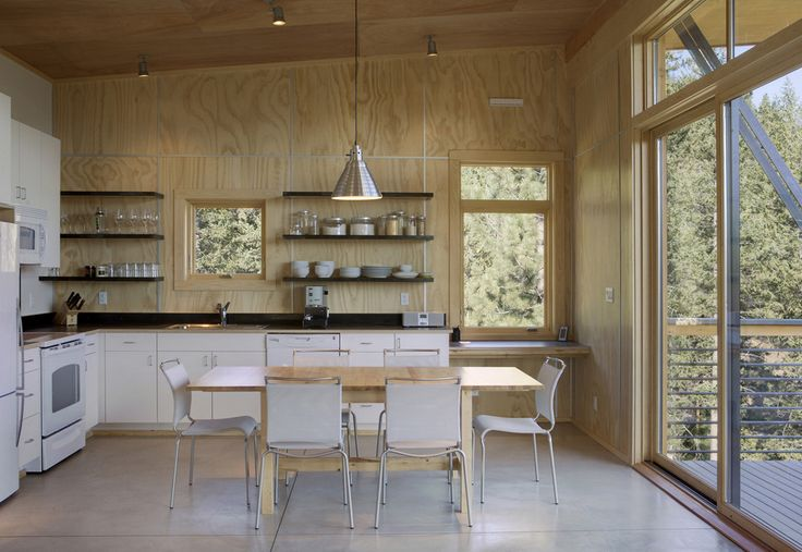 Kitchen Design : Good Looking Plywood Wall Ceiling Deck Dining Table Eat In Kitchen Lights Natural Light Natural Wood Open Shelves Pendant Light Plywood Walls Polished Concrete Floor Tran (40) ~ HeimDecor