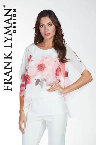Frank Lyman Design. Stylish floral chiffon tunic in very flattering silhouette. Proudly Made in Canada