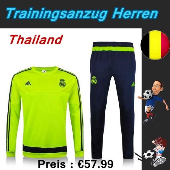 Neues Trainingsanzüge Fussball Herren Kits Real Madrid Grün Rundhalsausschnitt Seson 2015 2016 Deutschland Shop