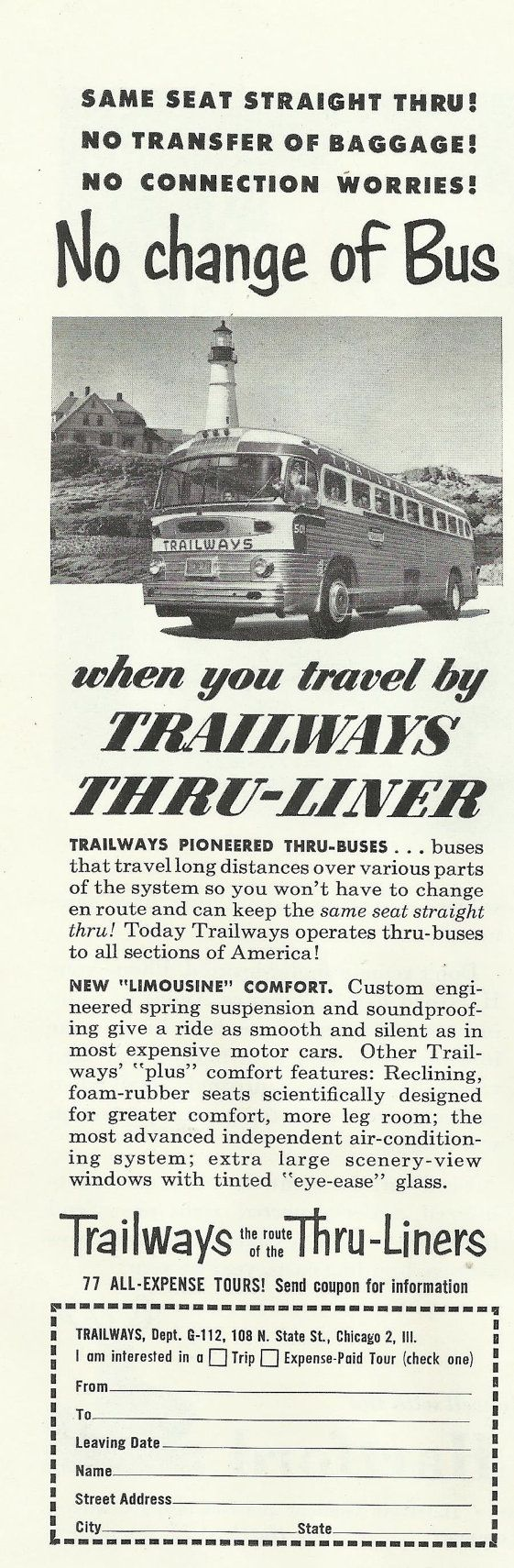 """Trailways Bus Line Original 1952 Vintage Print Ad Black and White Photo """"No Change of Bus When You Travel by Trailways Thru-Liner"""""""