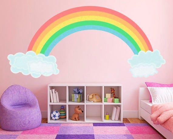 Rainbow Decal Nursery Decor Rainbow Wall Art Kids Room Decor Etsy Rainbow Wall Art Kids Kids Room Wall Art Kid Room Decor