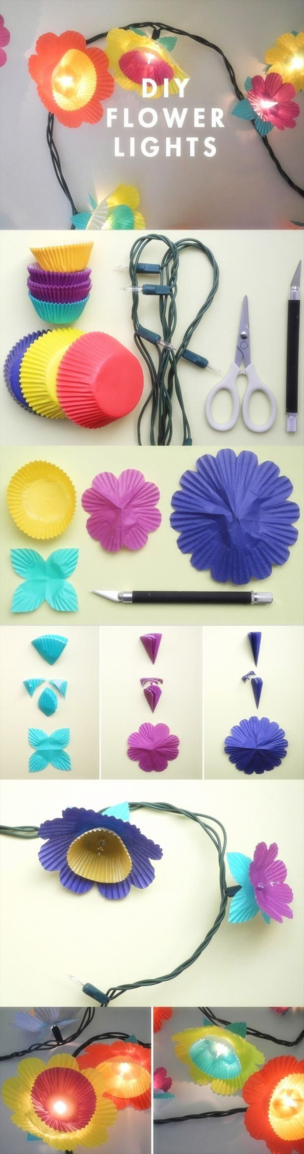 Girls Garden Theme Bedroom- Ideas and tutorials, including these DIY flower lights by 'Oh Happy Day'!