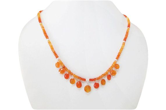 Orange Carnelian beads necklace with Silver findings by anushruti