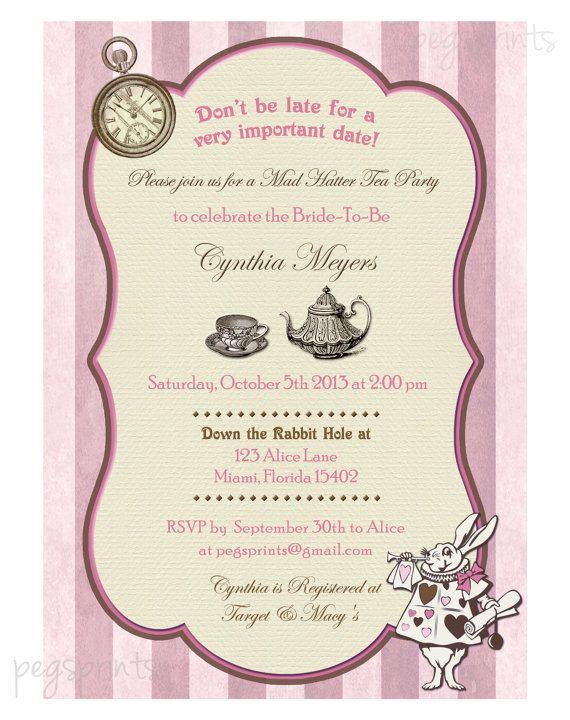 Mad Hatter Bridal Shower Invitation Vintage by PegsPrints on Etsy