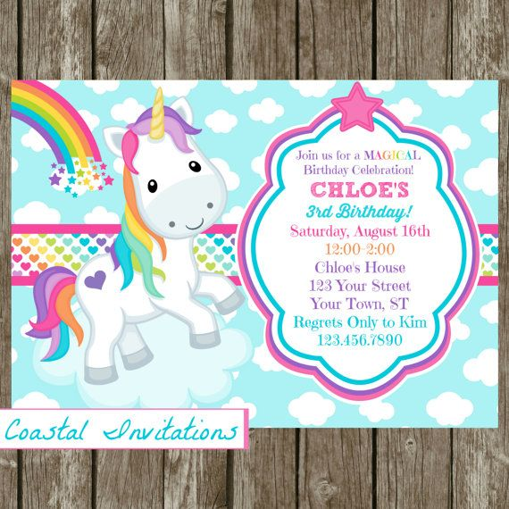 Unicorn Birthday Party Invitation por CoastalInvitations en Etsy