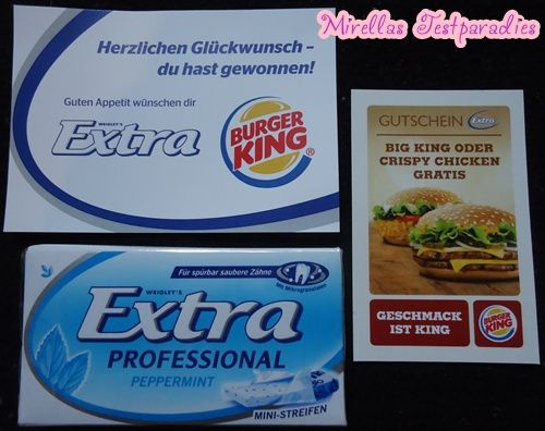 I won a package Extra bubblegum and a coupon for Burger King.