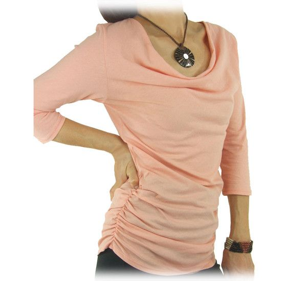 Spring color in feminine style! Organic Cotton Sheer Drape Top will surely bring you the feel of the new season.