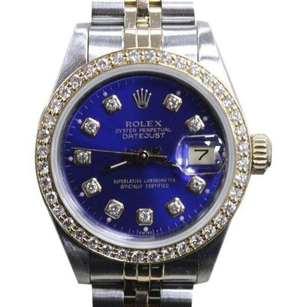 Pre-owned Rolex Datejust 69173 18K Yellow Gold & Stainless Steel 26mm... ($3,795) ❤ liked on Polyvore featuring jewelry, watches, pre owned watches, rolex jewelry, preowned watches, pre owned jewelry and yellow jewelry