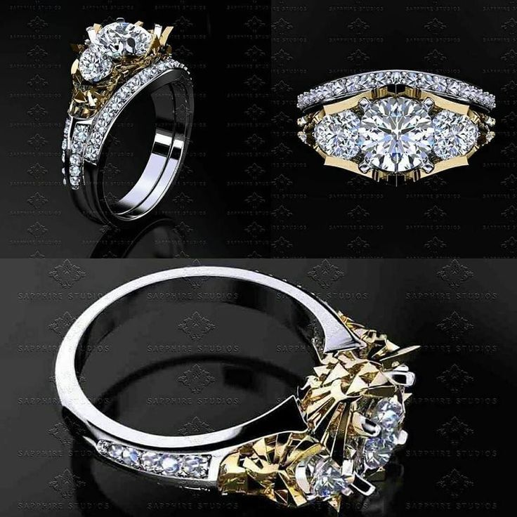 'Zelda' Now available in a bridal set - engagement and matching wedding band  Limited Edition Zelda Triforce Bridal Set Zelda Triforce Trio Diamond's set in 14k White and Yellow Gold Ring  View the Zelda collection -> http://bit.ly/zelda_ring @sapphirestudiodesign #TWO #TheWeddingOne