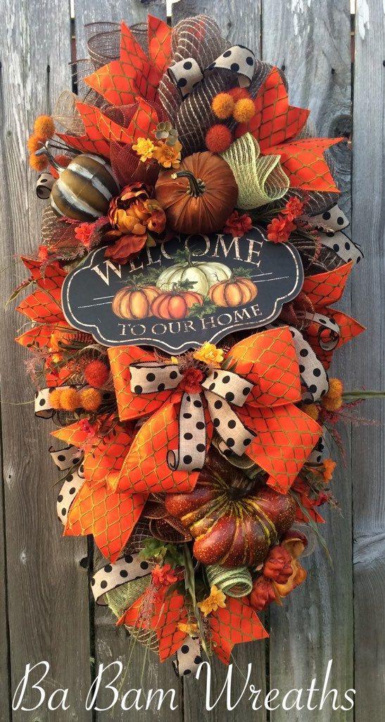 Fall Swag Autumn Swag Fall Wreath Autumn Wreath by BaBamWreaths